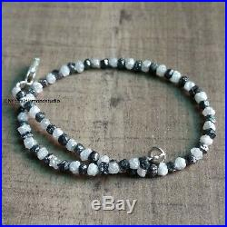 11+ Cts Natural White Black Rough Loose Diamond Beads 6.5 Bracelet. Silver Lock