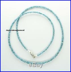 15.01 ct Excellent Blue Color Loose Rough Diamonds 16 Necklace. Silver Clasp