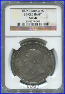 1892 South Africa 5 Shillings. Single Shaft. NGC AU58. Key Date