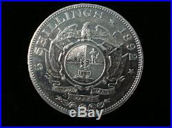 1892 South Africa Zar Silver Double Shaft 5 Five Shillings Crown Coin #ny2