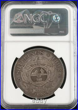 1892, South African Republic (ZAR). Large Silver 5 Shillings Coin. NGC AU-53