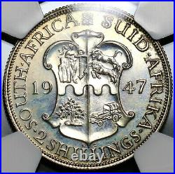 1947 NGC PF 65 South Africa Proof 2 Shillings Florin Silver Coin 2.6K 19100702C