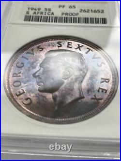 1949 South Africa 5 Shillings Rare ANACS Proof 65, Low Mintage 800 pcs Struck