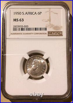 1950 South Africa Six Pence NGC MS 63 Silver