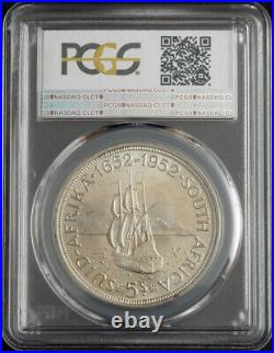 1952, South Africa (Union). Large Proof-Like Silver 5 Shillings Coin. PCGS PL66