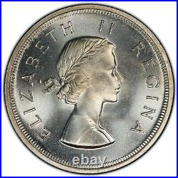 1953 South Africa 5 Shillings PCGS PL66 + Silver Crown Sized Registry Coin KM52