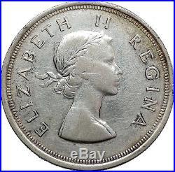 1953 South Africa Queen ELIZABETH II 5 Shillings Silver Coin Springbok i45534