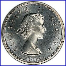 1955 South Africa 5 Shillings PCGS PL66 Silver Crown Sized Registry Coin KM52