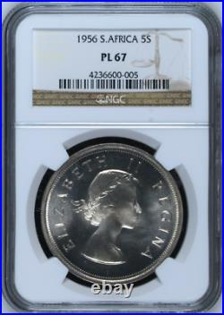 1956 South Africa 5 Shillings PL 67 NGC