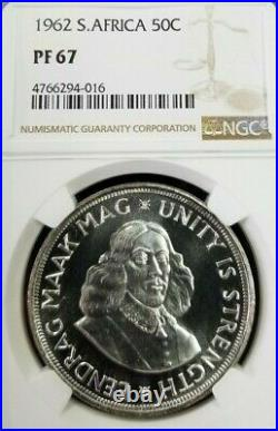 1962 South Africa Silver 50 Cents 50c Unity Is Strength Ngc Pf 67 Top Pop Beauty