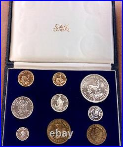 1963 South AFRICA Proof Set of 9 1 & 2 Rand. 3532 oz gold mintage 1,500 scarce
