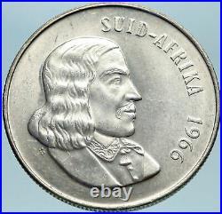 1966 SOUTH AFRICA Founder Jan van Riebeeck & Deer Silver 1 Rand Coin i82803