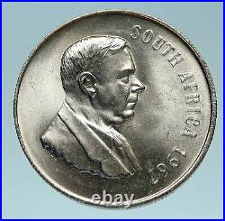 1967 SOUTH AFRICA Dr. Hendrik Frensch Verwoerd OLD Silver 1 Rand Coin i83182