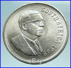 1969 SOUTH AFRICA End Presidency T. E. Donges Genuine Silver 1 Rand Coin i79547