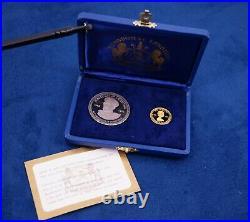 1976 Lesotho 50 Malati Gold & 10 Malati Silver Coin Set In Box with COA (4.5g Au)