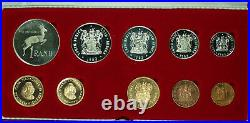 1983 South Africa 10 Coin Proof Set with Gold & Silver Rands in Mint Box