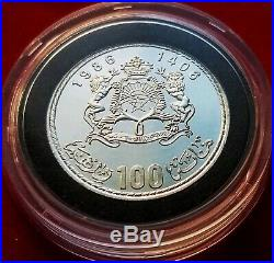 1985 Silver Morocco 100 Dirham Coin Commemorative Papal Visit Morocco