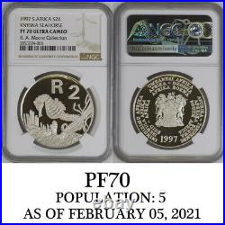 1997 KNYSNA SEAHORSE PF 70 ngc SILVER PROOF 2 rand south africa POP 5 R2