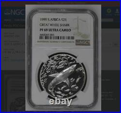 1999 SOUTH AFRICA SILVER PROOF 2 rand R2 ngc PF69 great white shark
