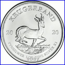 (1) 2020 South Africa Silver Krugerrand 1 oz 1 Rand BU STRAIGHT FROM TUBE