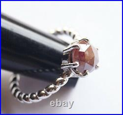 1.70cts Red Brown Round Rose Cut Diamond Solitaire Ring, silver Engagement ring