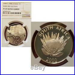2000 South Africa Silver proof 1 Rand wine production NGC PF69 PROTEA R1