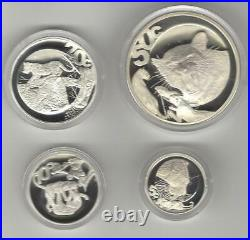 2004 The Leopard Wildlife Series Sterling Silver Set 4 Coins-proof