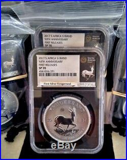 2017 1 Oz Silver South Africa Krugerrand First Releases Ngc Sp70 10-lot Deal +