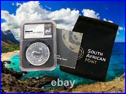 2017 1 oz South Africa Silver Krugerrand 50th Anniversary FDOI NGC SP70 withCOA