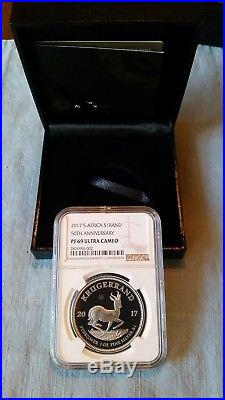 2017 1oz Silver PROOF krugerrand NGC PF69 Ultra Cameo 50th Anniversary Privy
