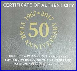 2017 50 Year Anniversary Of The Krugerrand 2oz Silver Bar with BOX & COA