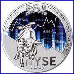 2017 Cameroon 200th NY Stock Exchange 8 oz Proof Silver Glow Dark OGP SKU49890