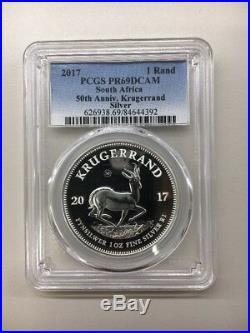 2017 Krugerrand PCGS Proof South Africa 1 oz Silver PR69 DCAM 50th Anniv