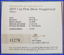 2017 SA Silver Proof Krugerrand 50th Anniversary NGC PF70 UC COA #11278