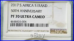 2017 SA Silver Proof Krugerrand 50th Anniversary NGC PF70 UC LOW LOW COA#104