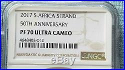 2017 SA Silver Proof Krugerrand 50th Anniversary NGC PF70 UC LOW LOW COA# 212