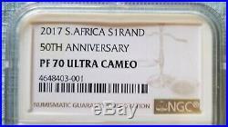 2017 SA Silver Proof Krugerrand 50th Anniversary NGC PF70 UC LOW LOW COA# 735