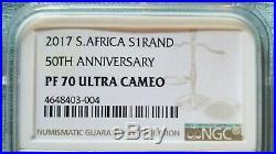 2017 SA Silver Proof Krugerrand 50th Anniversary NGC PF70 UC LOW LOW COA# 740