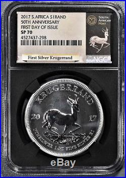 2017 S AFRICA $1RAND 50TH ANNIV KRUGERRAND SILVER First Day Issue NGC SP70 A8215