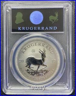 2017 S. A 1oz Ag Krugerrand SP70 UV Label 1 of 1000, 1st YR 50th Privy Mark COA