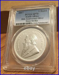 2017 Silver Krugerrand 1oz 50th Ann PCGS SP70 South Africa FIRST STRIKE Only 25