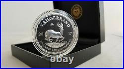 2017 South Africa 1 Oz Silver Krugerrand Proof 50th Anniv. Box & COA #9629