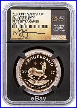 2017 South Africa 1 oz Gold Krugerrand Proof R1 Coin NGC PF70 UC FR Tumi Signed