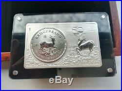 2017 South Africa 3 oz Silver 50th Anniv of the Krugerrand Coin & Bar Set withBox