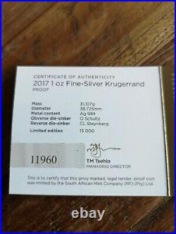 2017 South Africa Fine Silver Proof Krugerrand Coin Boxed Certificate