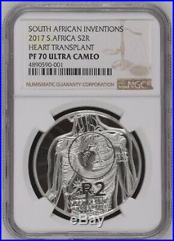 2017 South Africa First Heart Transplant Silver Coin NGC PF70 COA 2 Rand