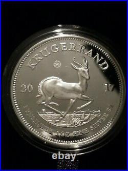 2017 South Africa Krugerrand 50th Ann. 1 oz Fine. 999 Silver Coin Box & COA