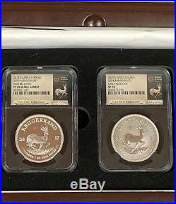 2017 South Africa Krugerrand 50th Anniversary Set NGC PF70 UCAM & SP70 Wood Box