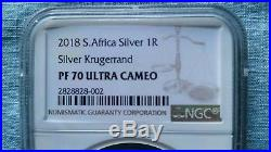 2018 1oz Silver PROOF Krugerrand NGC Perfect PF70 Ultra Cameo In Hand USA