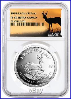 2018 Africa 1 oz Silver Krugerrand Proof R1 NGC PF69 UC Springbok Label SKU55073